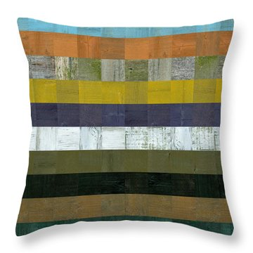 Wooden Abstract L Throw Pillow by Michelle Calkins