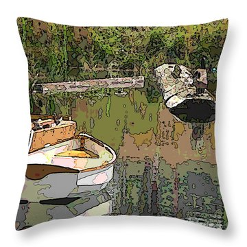 Wooden Boat Placid Throw Pillow by Tim Allen