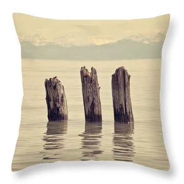 Wooden Piles Throw Pillow by Joana Kruse
