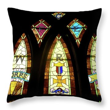 Wrc Stained Glass Window Throw Pillow by Thomas Woolworth