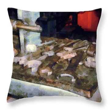 Wrenches And Oil Can Throw Pillow by Susan Savad