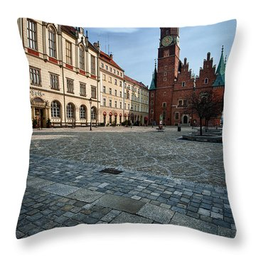 Wroclaw Town Hall Throw Pillow by Sebastian Musial