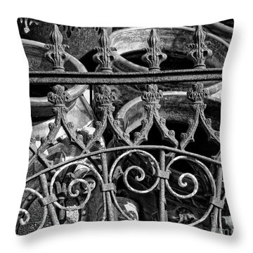 Wrought Iron Gate And Pots Black And White Throw Pillow by Kathleen K Parker