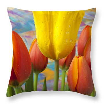 Yellow And Orange Tulips Throw Pillow by Garry Gay