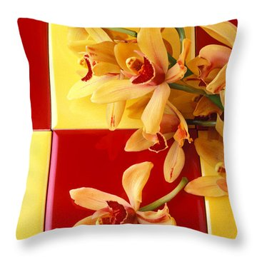 Yellow And Red Orchids  Throw Pillow by Garry Gay
