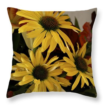 Yellow Daisies Throw Pillow by Richard Gregurich