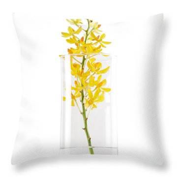 Yellow Orchid In Vase Throw Pillow by Atiketta Sangasaeng