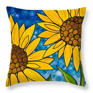 Yellow Sunflowers Throw Pillow by Sharon Cummings