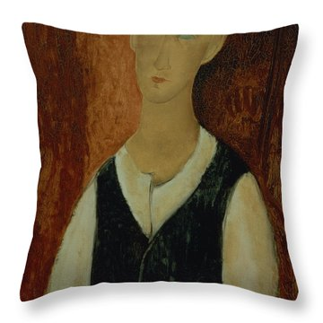 Young Man With A Black Waistcoat Throw Pillow by Amedeo Modigliani
