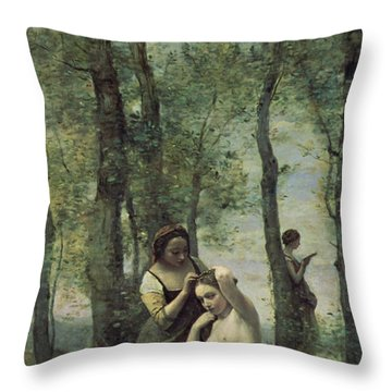 Young Woman At Her Toilet Throw Pillow by Jean Baptiste Camille Corot