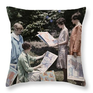 Young Women From Newcomb College Gather Throw Pillow by Edwin L. Wisherd