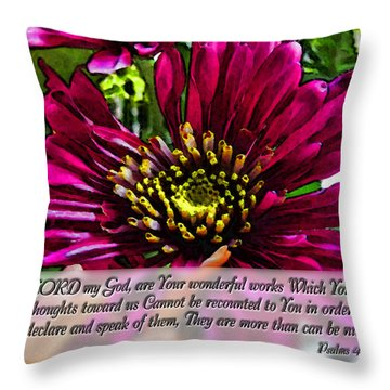Your Wonderful Works Throw Pillow by Debbie Portwood