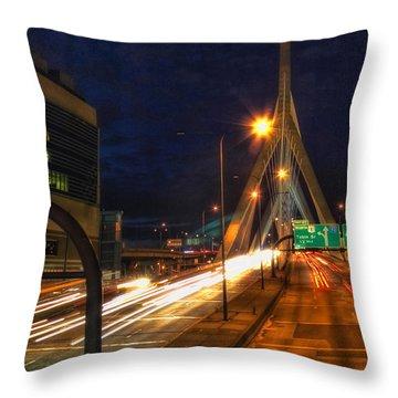 Zakim Bridge At Night Throw Pillow by Joann Vitali