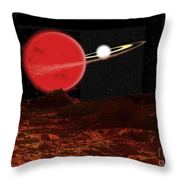 Zeta Piscium Is A Binary Star System Throw Pillow by Ron Miller