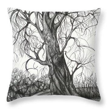 Autumn Dancing Tree Throw Pillow by Anna  Duyunova