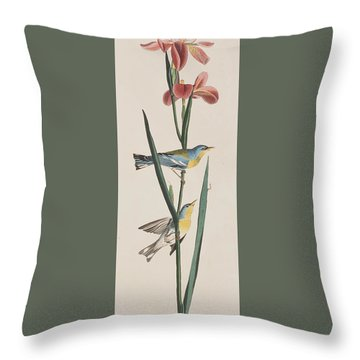 Blue Yellow-backed Warbler Throw Pillow by John James Audubon