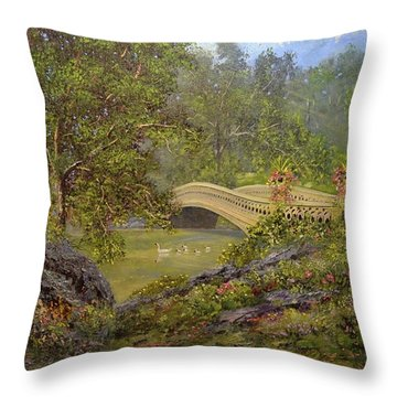 Bow Bridge Central Park Throw Pillow by Michael Mrozik