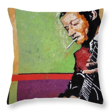 Jazz Guitarist Throw Pillow by Yuriy  Shevchuk