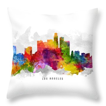 Los Angeles California Cityscape 13 Throw Pillow by Aged Pixel