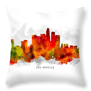 Los Angeles California Cityscape 15 Throw Pillow by Aged Pixel