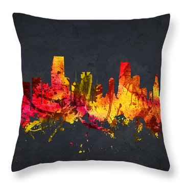 Miami Cityscape 07 Throw Pillow by Aged Pixel
