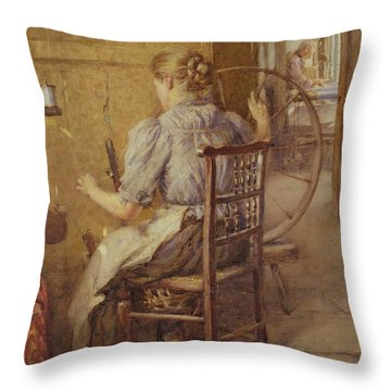 The Spinning Wheel  Throw Pillow by Frederick William Jackson