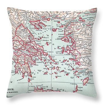 Map: Ancient Greece Throw Pillow by Granger