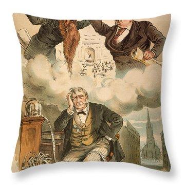 Cartoon: Panic Of 1893 Throw Pillow by Granger