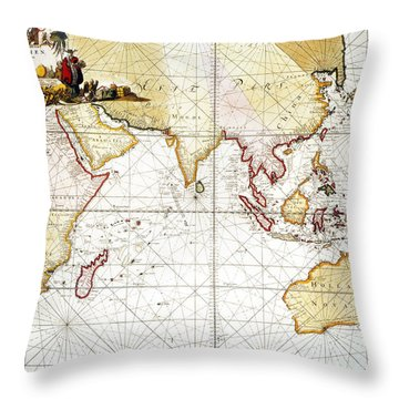 Indian Ocean: Map, 1705 Throw Pillow by Granger