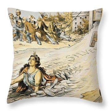 Free Silver Cartoon, 1890 Throw Pillow by Granger