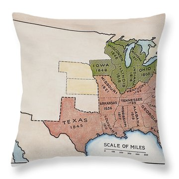United States Map, 1854 Throw Pillow by Granger