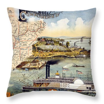 Mississippi Steamboat Throw Pillow by Granger