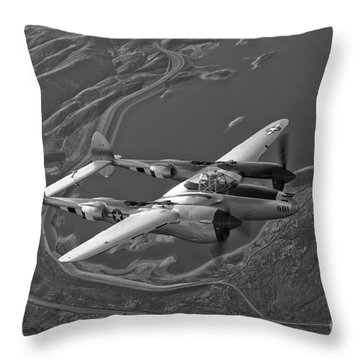 A Lockheed P-38 Lightning Fighter Throw Pillow by Scott Germain