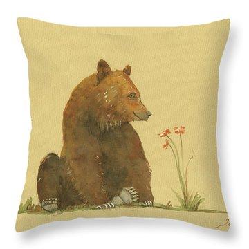 Alaskan Grizzly Bear Throw Pillow by Juan Bosco