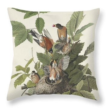 American Robin Throw Pillow by John James Audubon