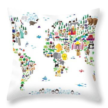 Animal Map Of The World For Children And Kids Throw Pillow by Michael Tompsett