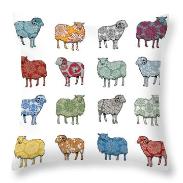 Baa Humbug Throw Pillow by Sarah Hough