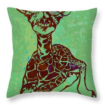 Baby Giraffe - Pop Modern Etching Art Poster Throw Pillow by Kim Wang
