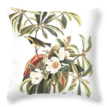 Bachman's Warbler  Throw Pillow by John James Audubon