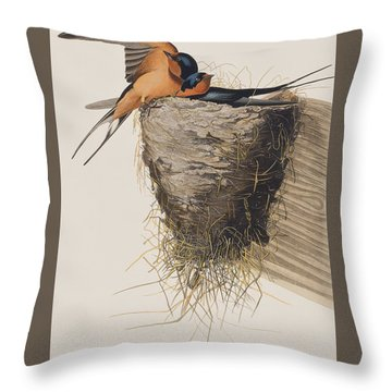 Barn Swallow Throw Pillow by John James Audubon
