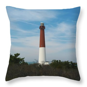 Barnegat Lighthouse - New Jersey Throw Pillow by Bill Cannon