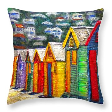 Beach Houses At Fish Hoek Throw Pillow by Michael Durst