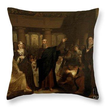 Belshazzar's Feast Throw Pillow by Washington Allston
