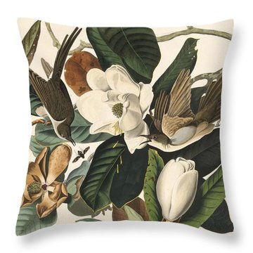 Black-billed Cuckoo Throw Pillow by John James Audubon