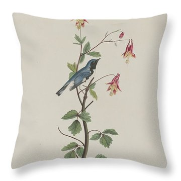 Black-throated Blue Warbler Throw Pillow by John James Audubon