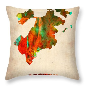 Boston Watercolor Map  Throw Pillow by Naxart Studio