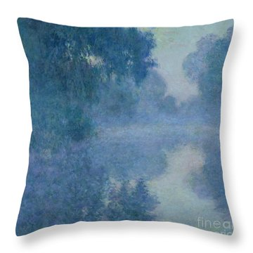 Branch Of The Seine Near Giverny Throw Pillow by Claude Monet