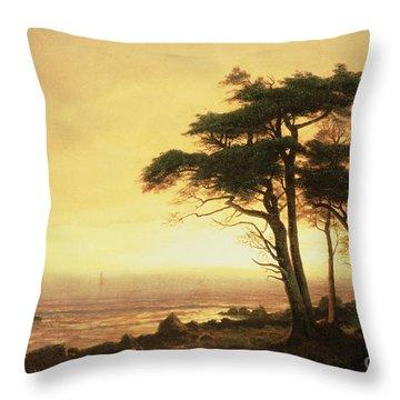 California Coast Throw Pillow by Albert Bierstadt