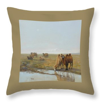 Camels Along The River Throw Pillow by Chen Baoyi
