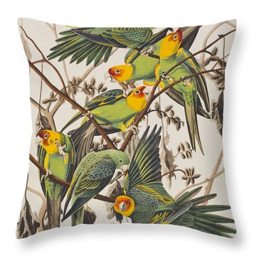 Carolina Parrot Throw Pillow by John James Audubon